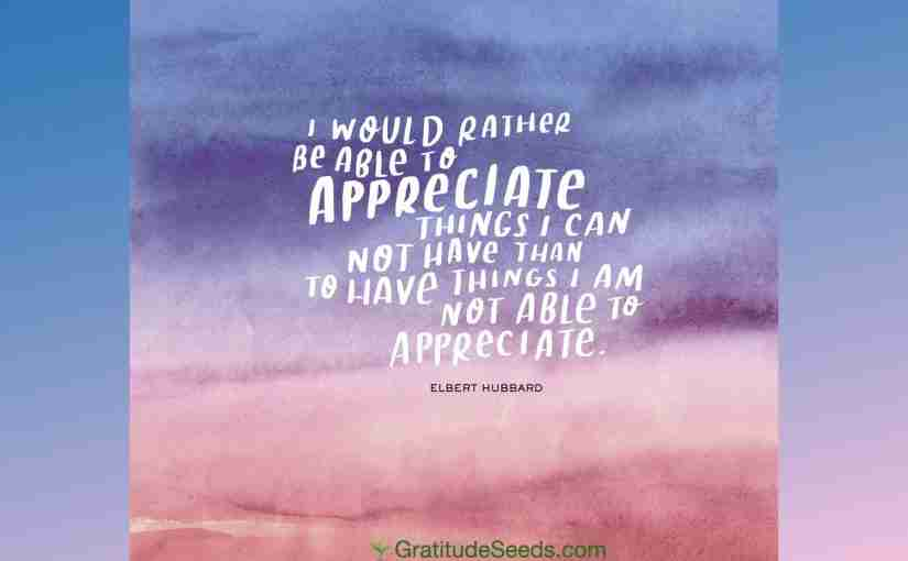 Appreciate the Things You Have